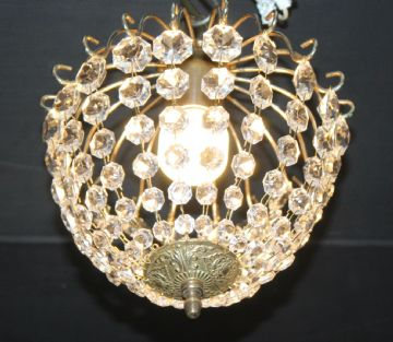 "VINTAGE  FRENCH  CIRCULAR GLASS BAG  ""SAC A PERLES"" CEILING LIGHT - Ref: AMY19"